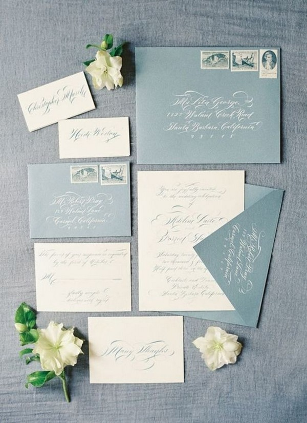 soft blue wedding invitations