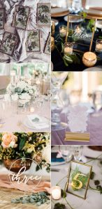 trending acylic and glass wedding table number ideas