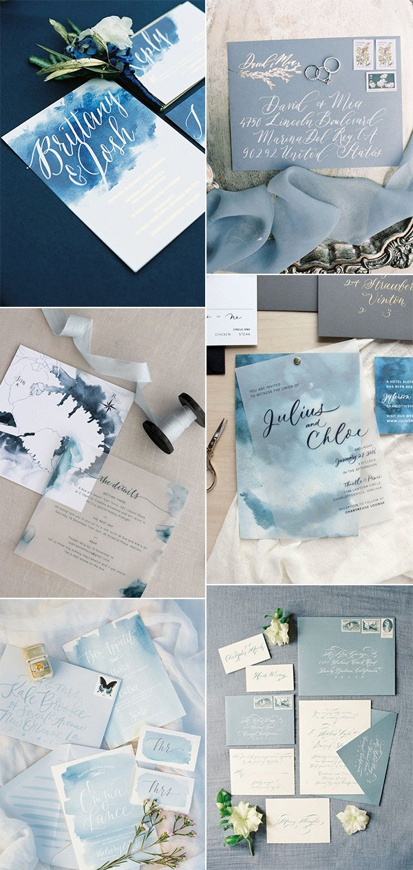 trending shades of blue wedding invitations