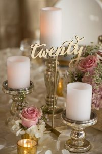 vintage wedding centerpiece ideas with monogram table number