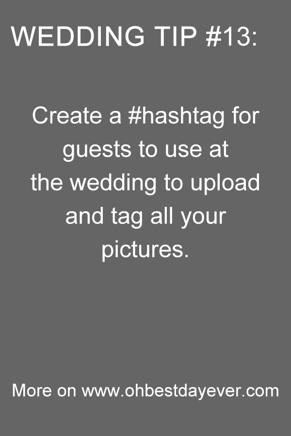 wedding planning tip create a hashtag