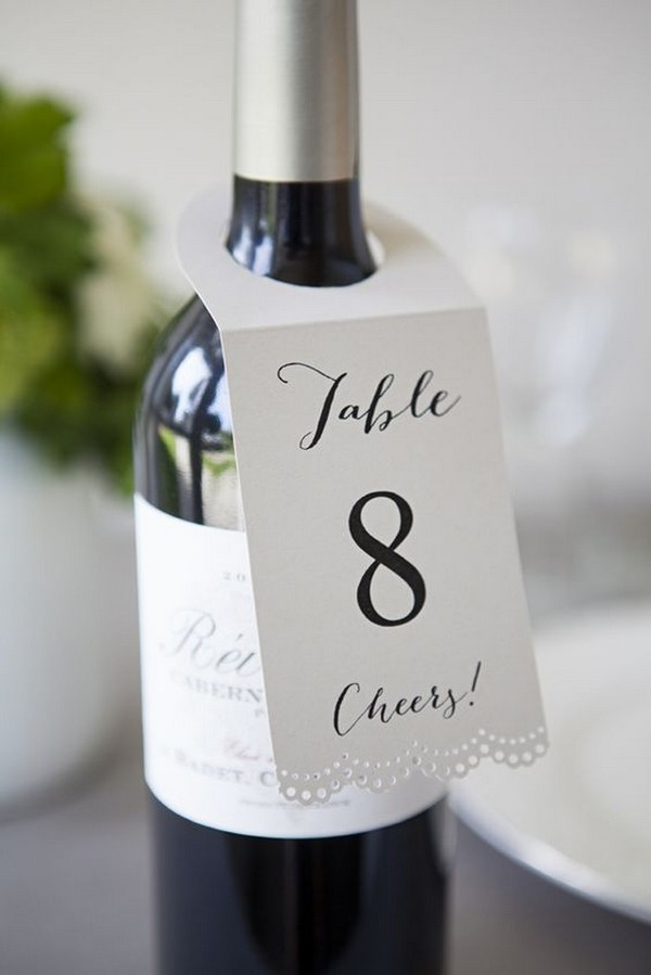 wine bottle wedding table number ideas