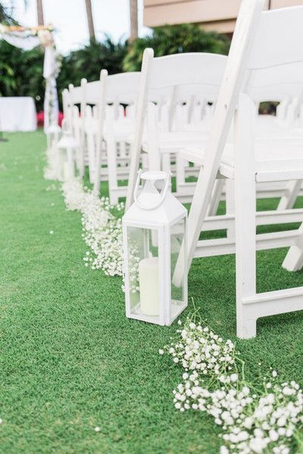 All White Baby S Breath And Lantern Wedding Aisle Ideas Oh