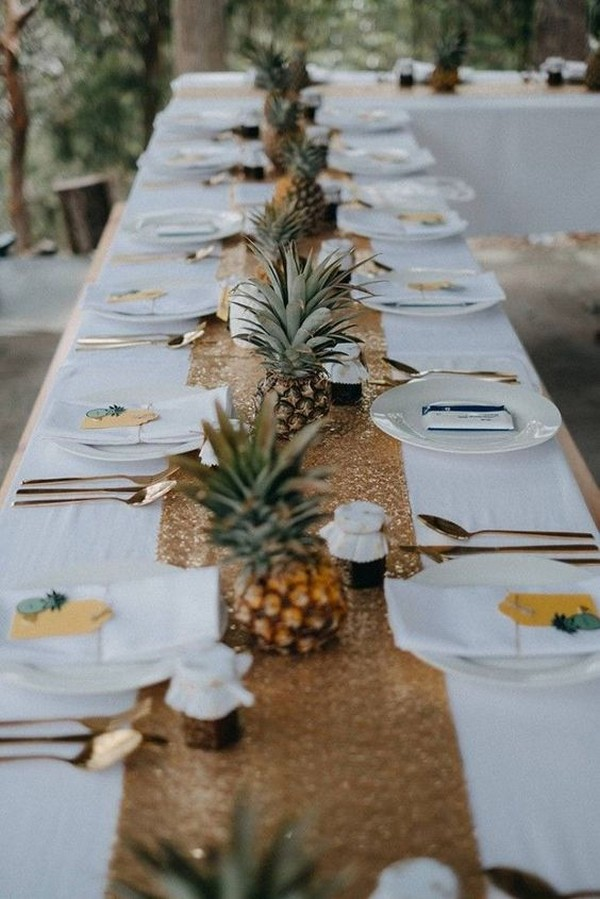 beach side tropical wedding reception centerpiece ideas