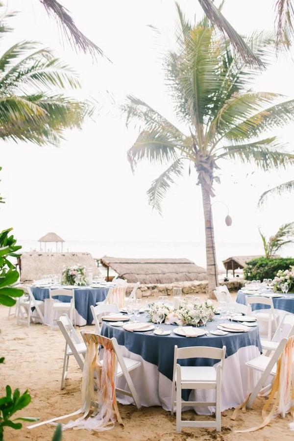 beach side wedding reception table setting ideas