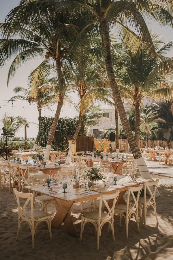 beach wedding reception with square tables