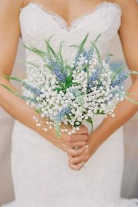 blue and white baby's breath wedding bouquet