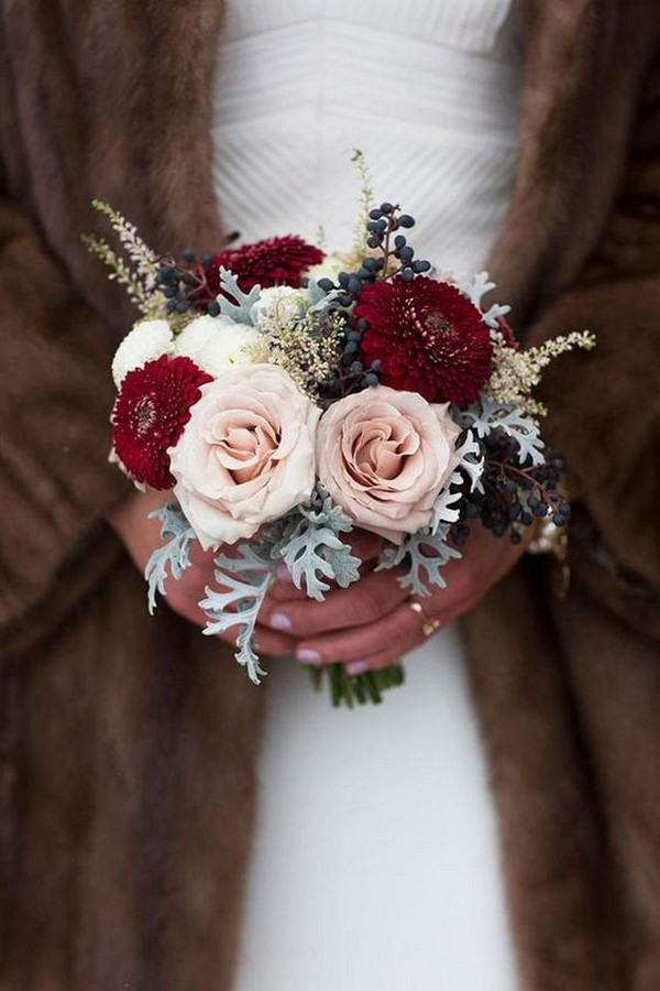 blush and burgundy winter wedding bouquet
