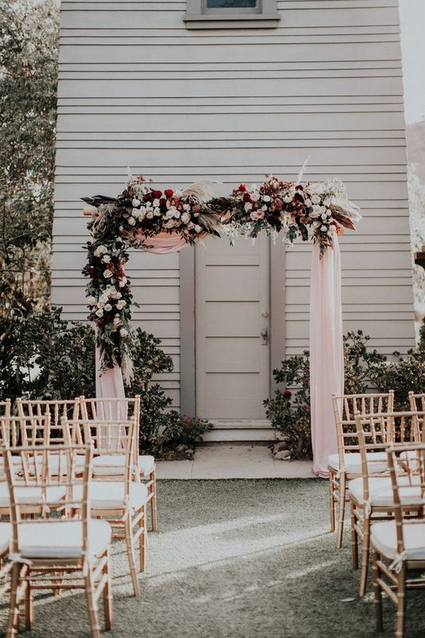 blush pink and burgundy wedding arch ideas