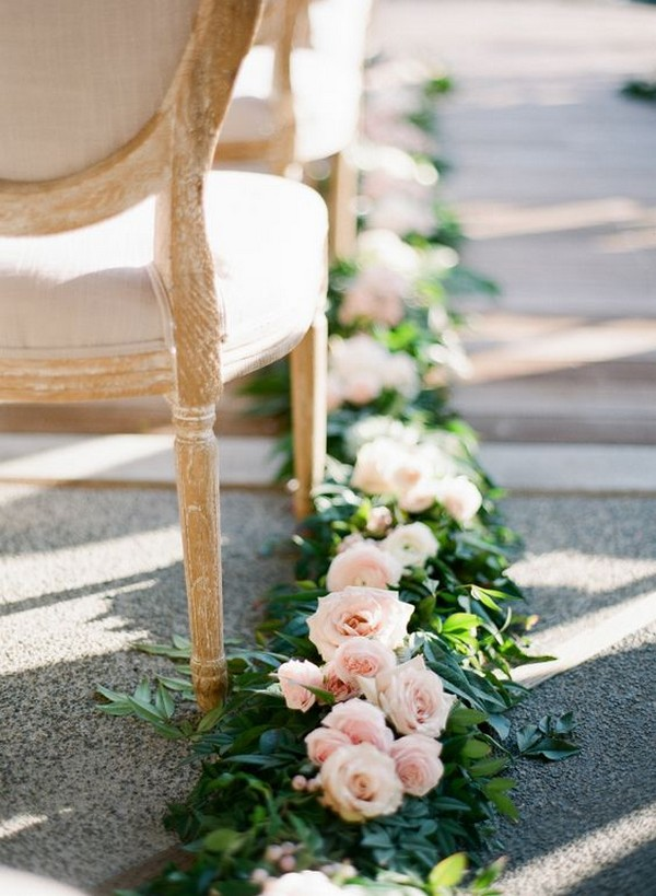 blush pink and greenery wedding aisle decoration ideas