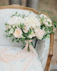 blush pink and ivory wedding bouquet