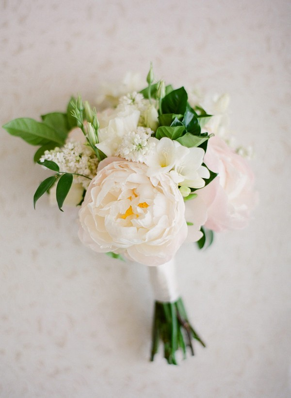 blush pink and white small wedding bouquet