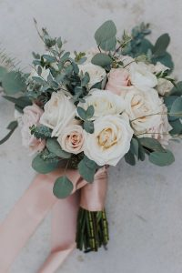 blush pink bridal bouquet with ribbon