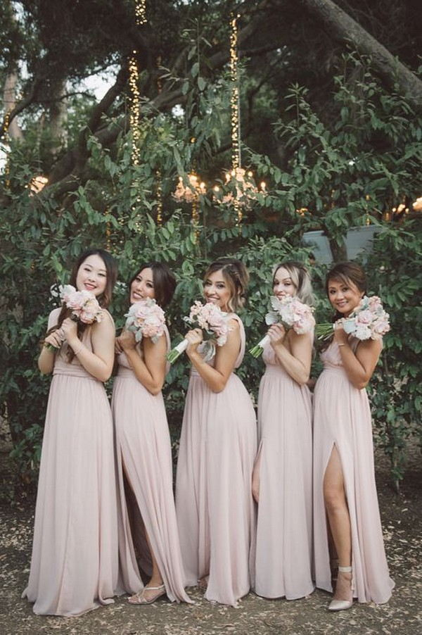 blush pink bridesmaid dresses with slit