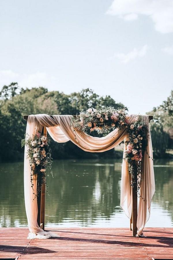 blush pink elegant outdoor wedding arch ideas