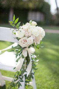 blush pink floral wedding chair decoration ideas