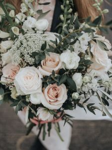 blush pink roses wedding bouquet with greenery