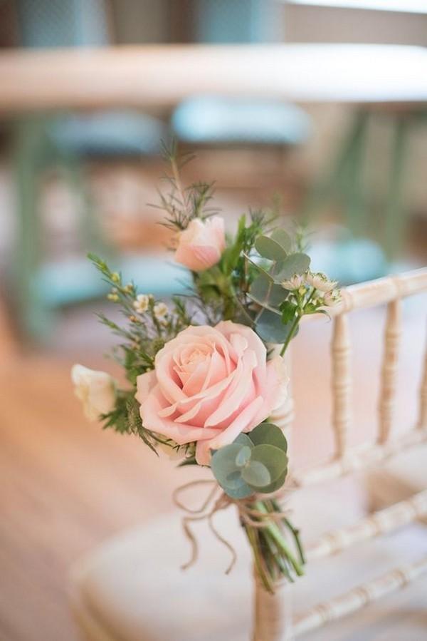 blush pink wedding aisle chair decoration ideas