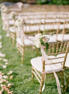 blush pink wedding aisle decoration ideas with gold chairs