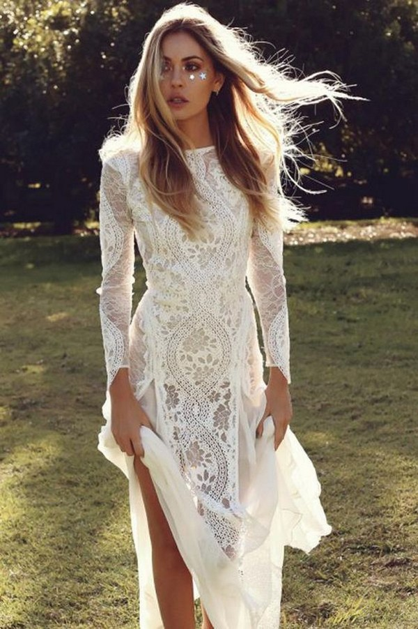 boho beach wedding dress with long lace sleeves