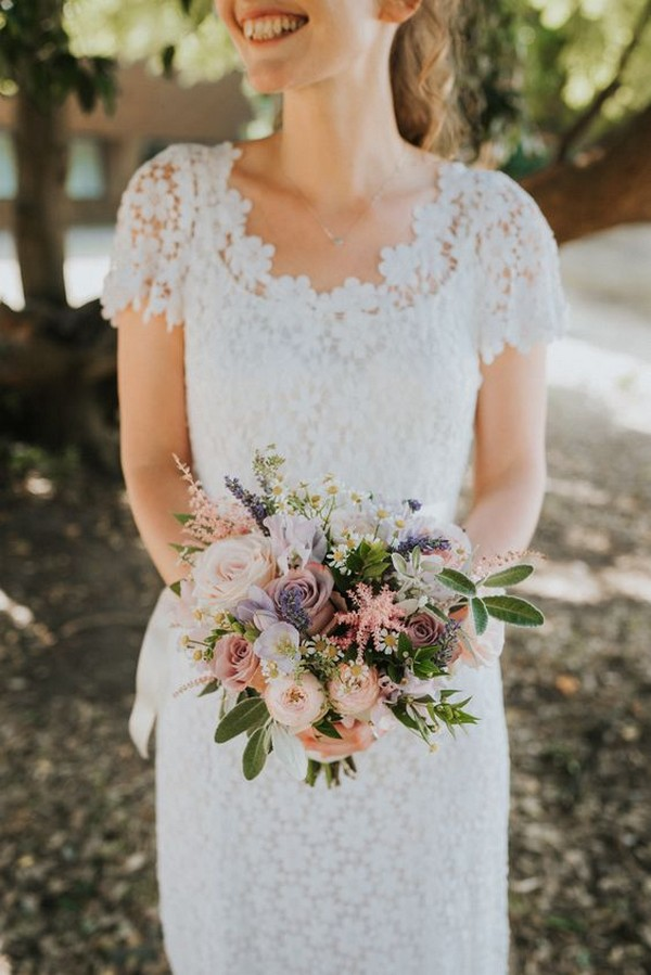 boho rose and wildflowers wedding bouquet