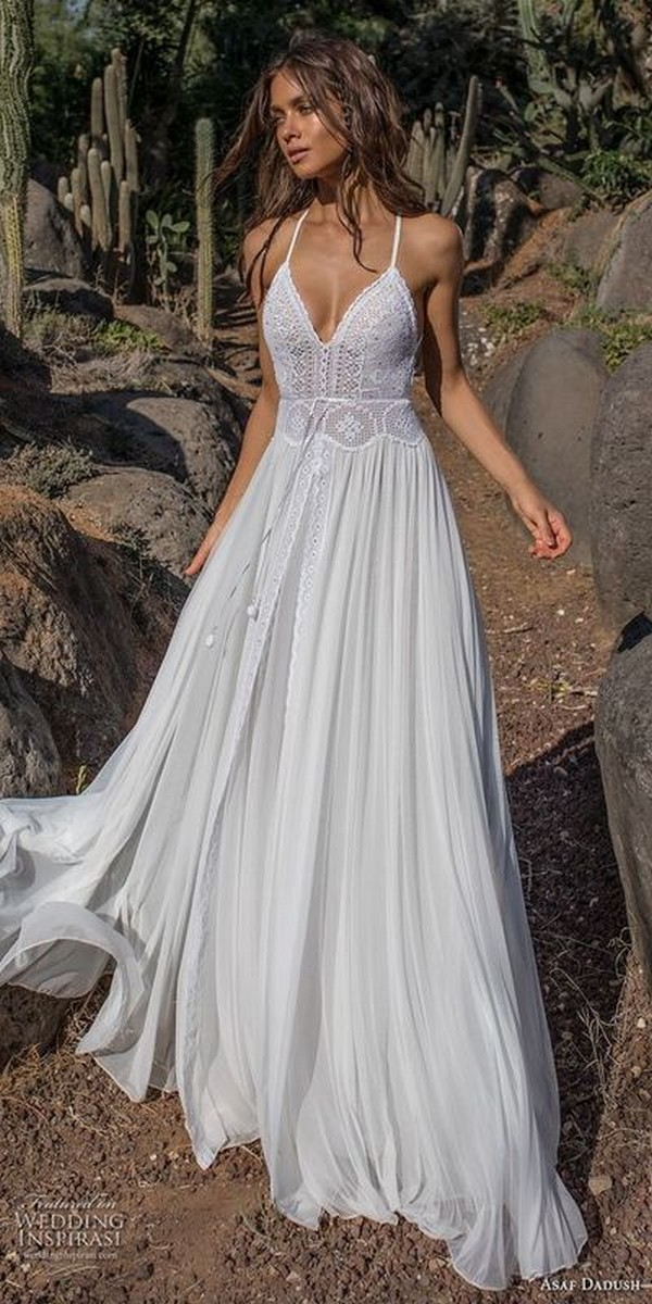 boho spaghetti straps beach wedding dress