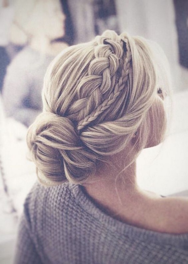 braided pretty updo wedding hairstyle