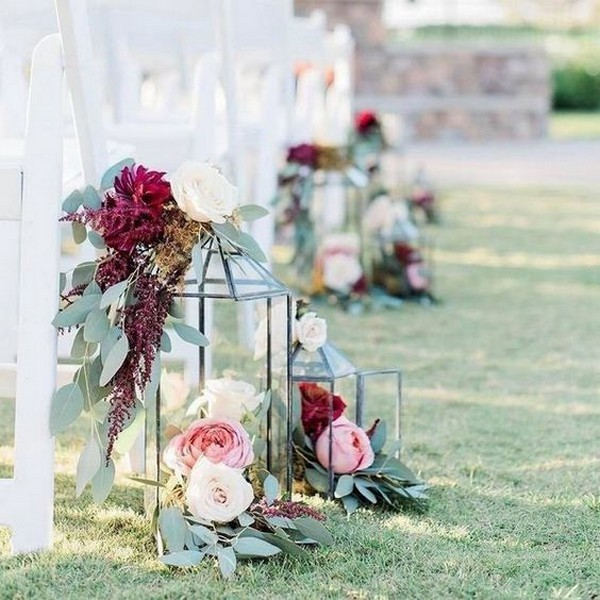 burgundy and blush outdoor wedding aisle ideas