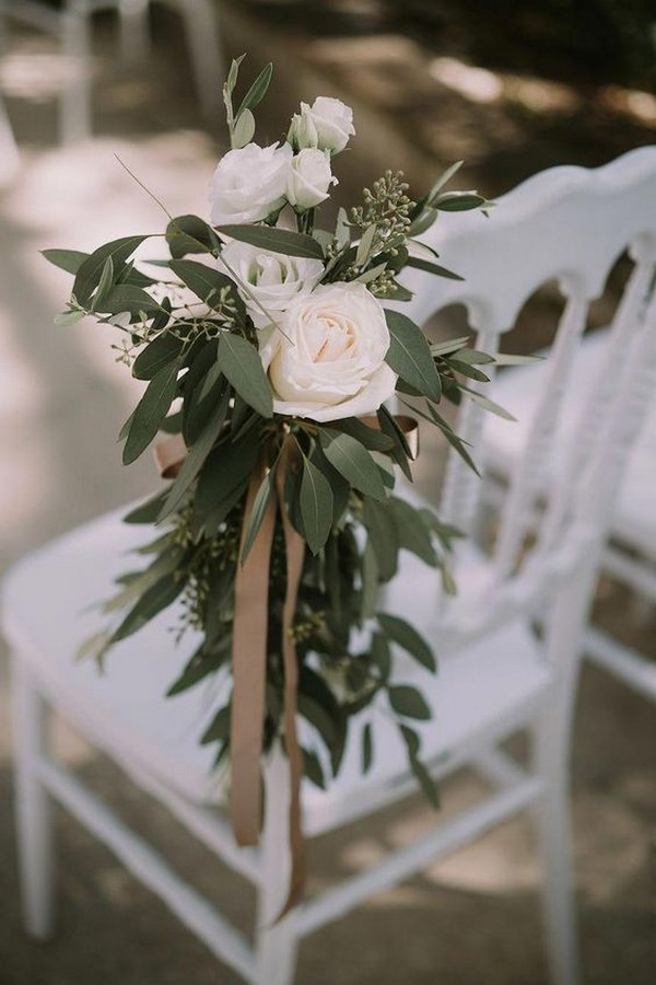 chic blush and greenery wedding aisle ideas