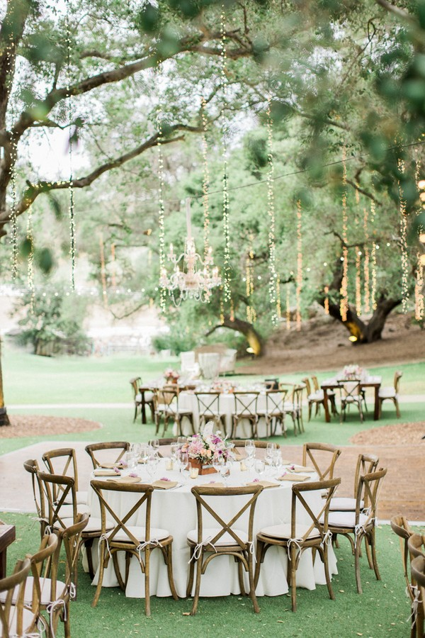 chic garden outdoor wedding reception ideas with lights