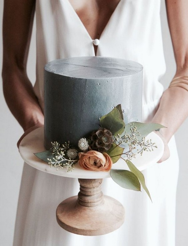 dusty blue single layer wedding cake