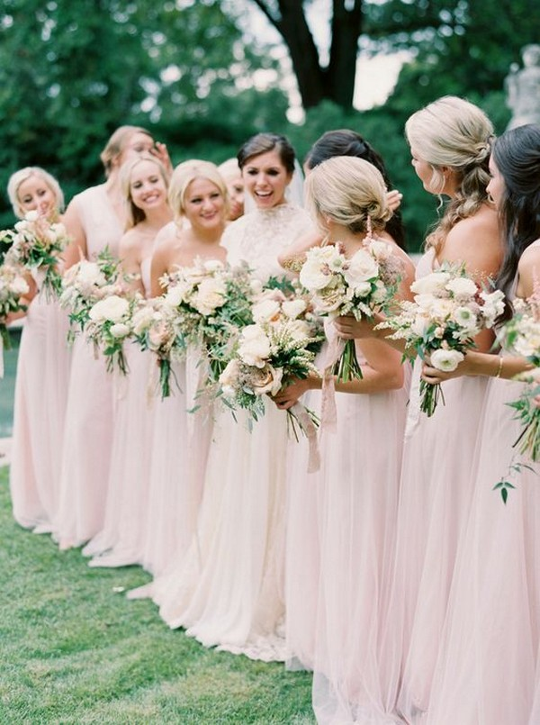 elegant blush pink bridesmaid dresses