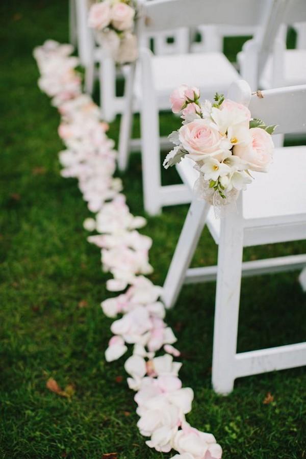 elegant blush pink outdoor wedding aisle ideas