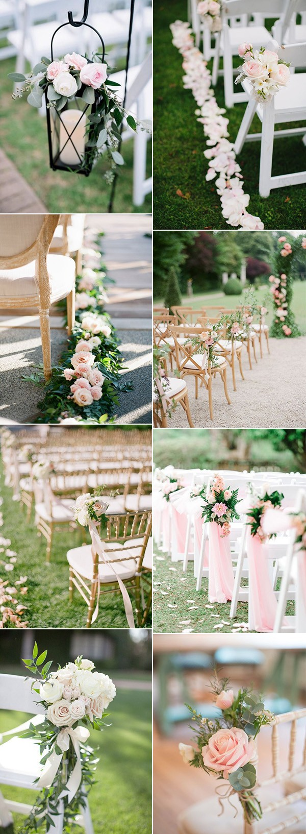 elegant blush pink wedding aisle decoration ideas