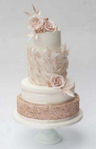 elegant blush pink wedding cake