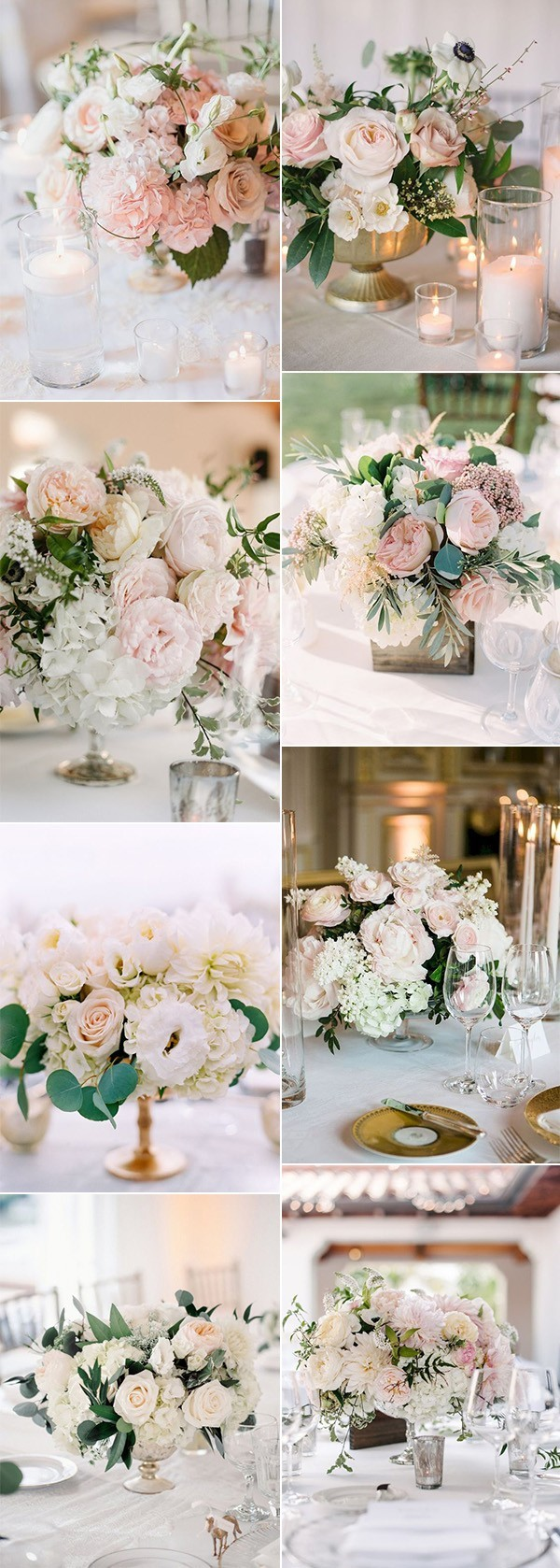 elegant blush pink wedding centerpieces