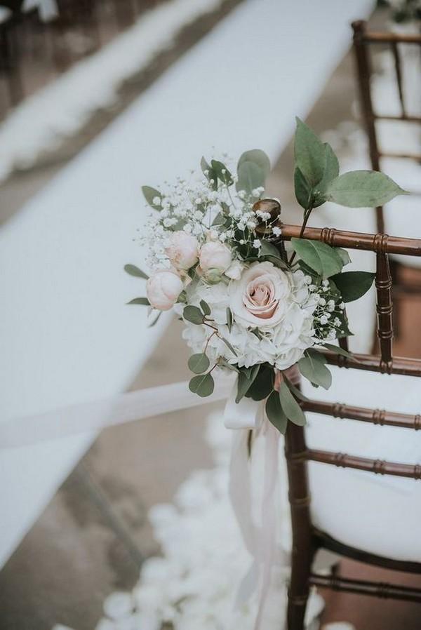 elegant ivory and blush wedding aisle ideas
