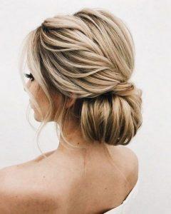 elegant low bun updo wedding hairstyle