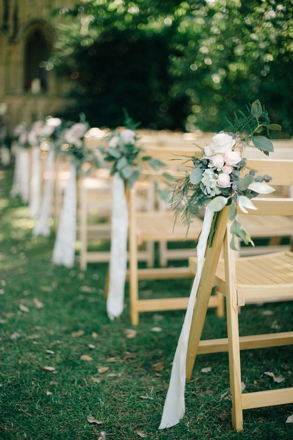 elegant ribbon and floral wedding aisle decoration ideas