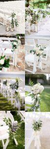 elegant white and greenery outdoor wedding aisle ideas