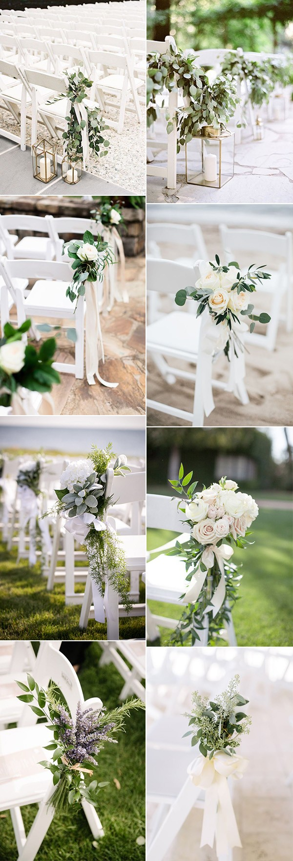 elegant white and greenery outdoor wedding aisle ideas