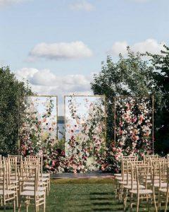 garden themed outdoor wedding backdrop