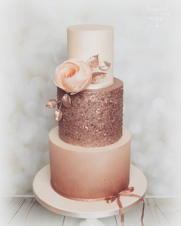 glitter pink wedding cake ideas