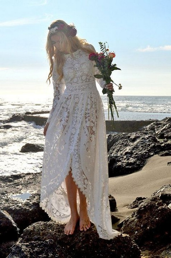 high low beach lace wedding dress with long sleeves