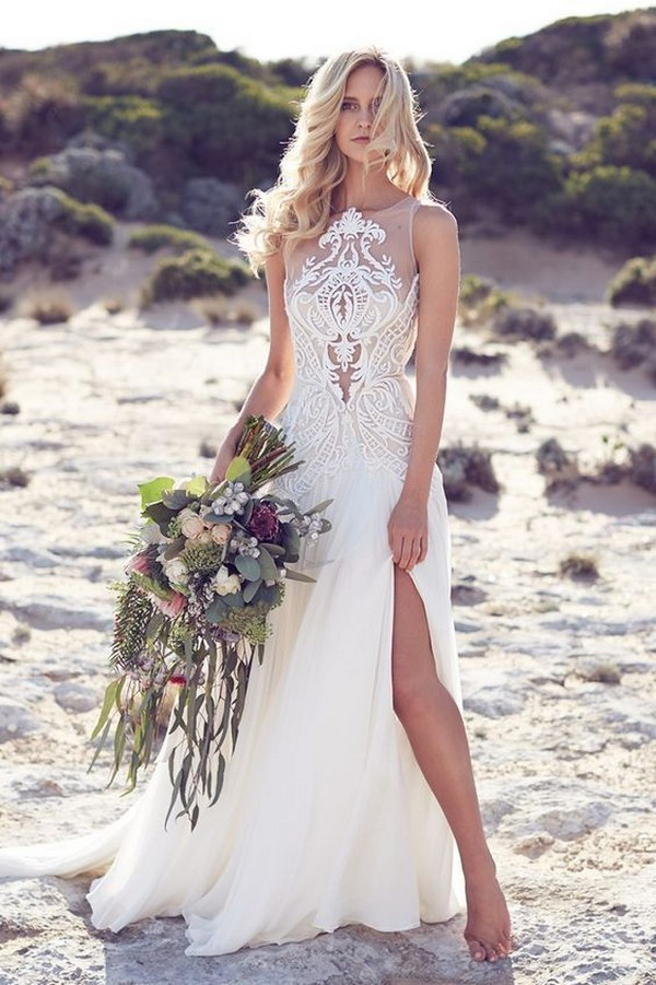 illusion neckline beach wedding dress