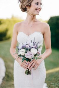 lavender and white small wedding bouquet