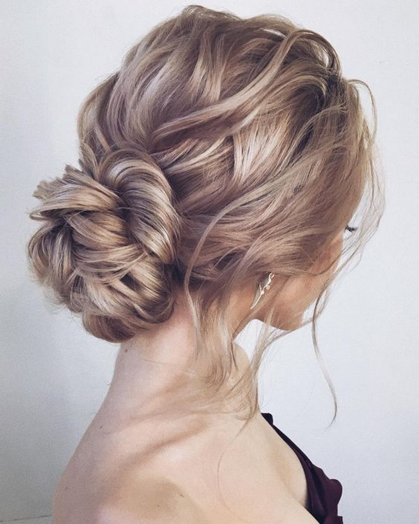 messy updo wedding hairstyle for long hair