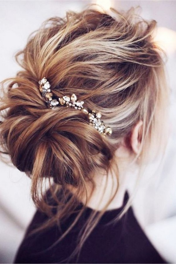 messy wedding updo bridal hairstyle