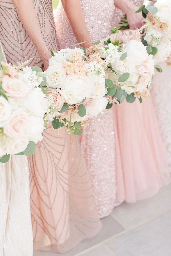mix and match shades of pink bridesmaid dresses