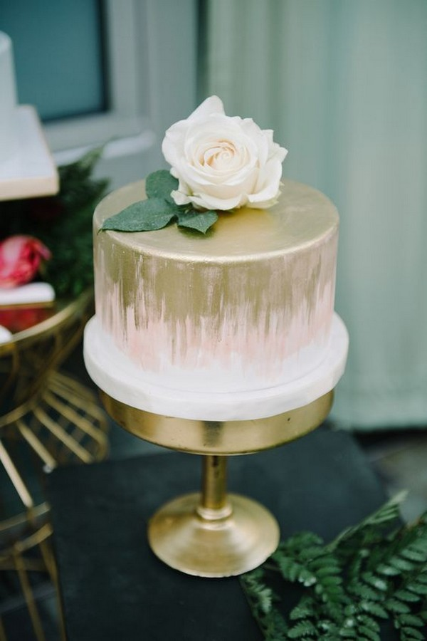 modern pink and metallic gold wedding cake